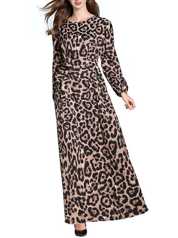 Leopard Printed Long Sleeve Maxi Dress