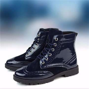 Men Blue Combat Flat High Top Martin Casual Lace Up Ankle Boots