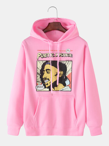Figure Graphic Chest Print Hoodies