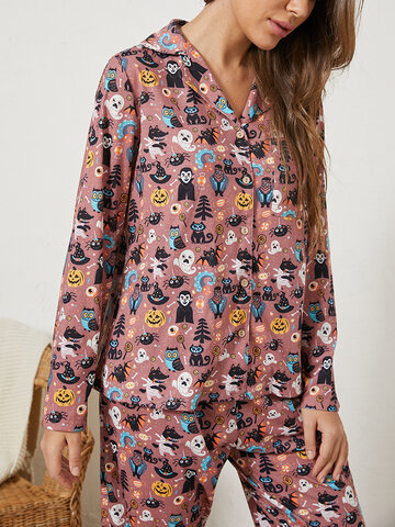 Women Halloween Ghost Pumpkin Print Pajama Set