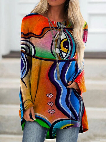 Graffti Print Long Sleeve Blouse