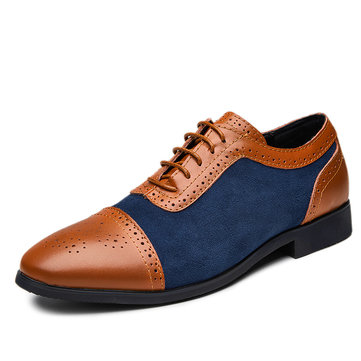 Large Size Men Brogue Color Blocking Dress Shoes