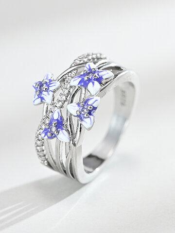 Violet Flower Epoxy Ring