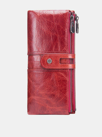 Women Genuine Leather High-end Long Wallet 12 Card Slot