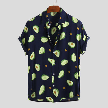 Mens Funny Avocado Printed Casual Shirts