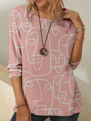 Abstract Print Casual Blouse