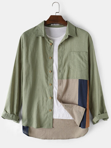 Cotton Patchwork Daily Shirts