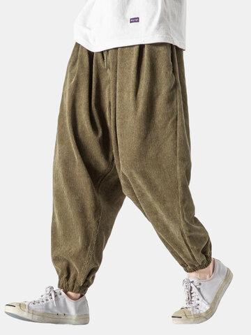 Pantalón de chándal sólido de pana Pantalones