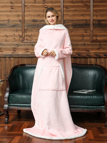 Fleece Hoodies Blanket With Sleeves Outdoor Warm Soft Hoodie Front Pocket Hedging TV Flannel Blanket