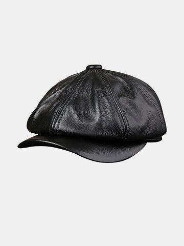 Chapeau en cuir de vachette pour homme Tide Navy Beret Casquettes octogonales