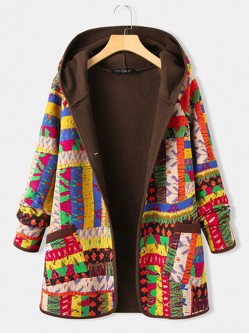 Vintage Patched Print Thick Coat