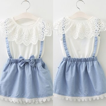 Fake Two-piece Girls Dress For 3-11Y