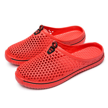 Men Breathable Hollow Out Slip On Flat Beach Slippers
