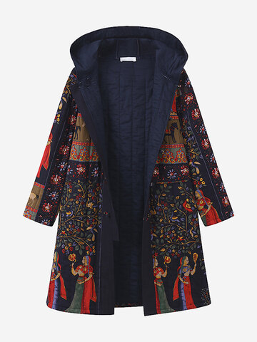 Ethnic Print Thicken Coat