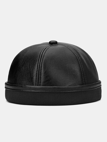 COLLROWN Men & Women Leather Hat Brimless Landlord Cap Skull Cap