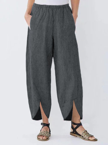 Striped Asymmetrical Loose Pantaloni
