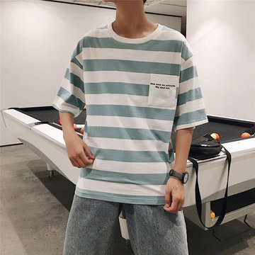 Male Five-point Sleeve Striped T-shirt Round Neck Student Short-sleeved T-shirt Wild Loose Shirt Men's Supply