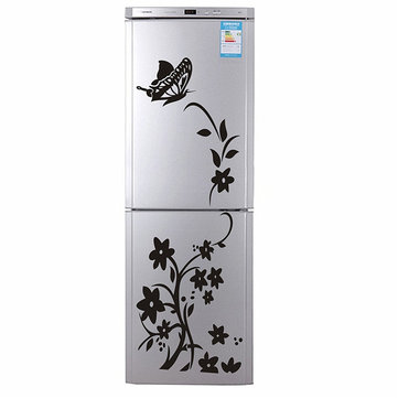 PVC Removable Flower Vines Wall Stickers DIY Mural Fridge Decals Vinyl Art Wall Sticker, Black white