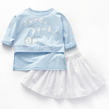 2pcs Girls T-shirt + Skirt Sets For 1Y-9Y