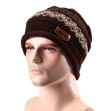 Male Fleece Lining Knitted Slouch Beanie Hat Double Layers Winter Outdoor Thermal Cap, Black khaki gray coffee