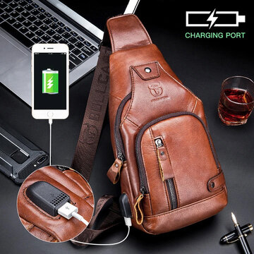 Men USB Charging Casual Bag Genuine Leather Chest Bag