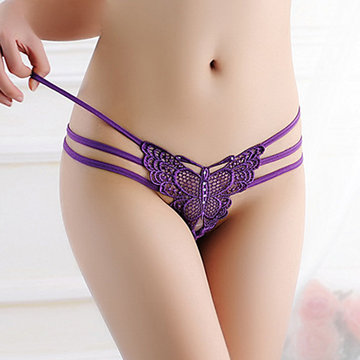Sexy Hollow Butterfly Embroidered Thongs