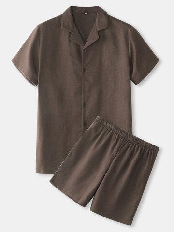 Solid Revere Collar Pajama Sets