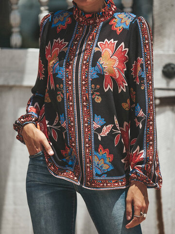 Hollow Ethnic Print Damen Bluse
