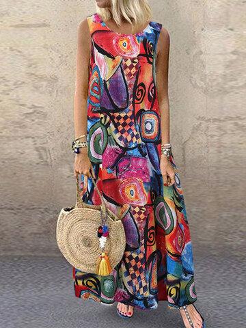 Vintage Printed Sleeveless Dress