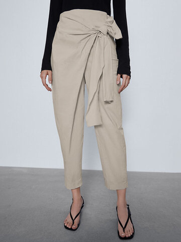 Asymmetrical Bowknot Belt Elastic Pants