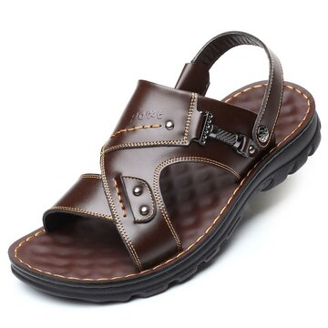 Men Leather Metal Casual Beach Sandals