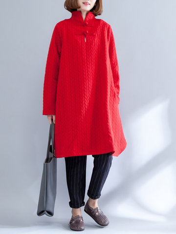 Frog Button Stand Collar Dress фото