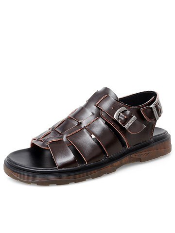 Men Buckle Cow Leather Gladiator Sandals