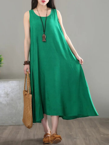 Casual Solid Embossing Sleeveless Dress