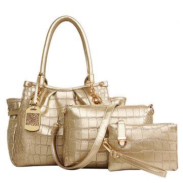 3PCS المرأة حقيبة يد أنيقة نمط التمساح