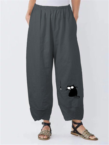 Solid Cartoon Cat Fish Print Pants
