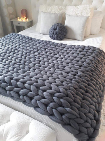Knitting Throw Blankets Yarn Knitted Blanket Hand-knitted Warm Chunky Knit Cheap Blanket Thick Bulky Sofa Throw