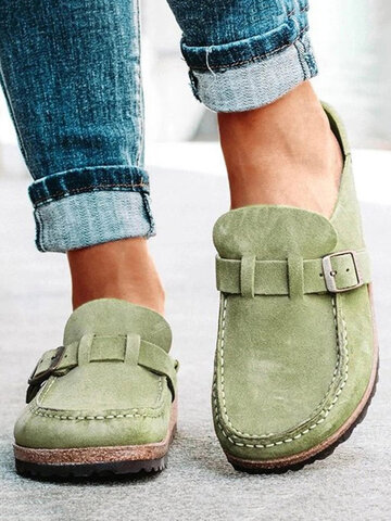 Suede Large Round Toe Backless Flats