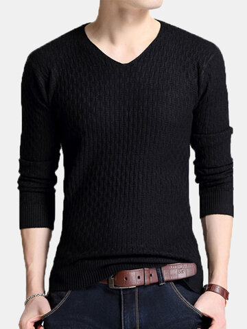 Solid Color Knitted Casual Sweater