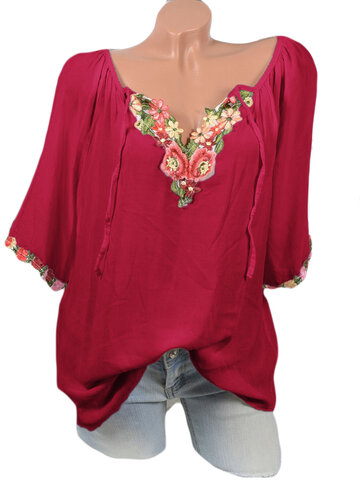 Embroidered Cold Shoulder V-neck Blouses, White wine red yellow