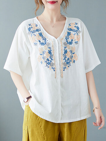 Flower Embroidery Patch V-neck Blouse