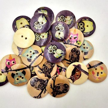 50Pcs 30mm Owl Wooden Buttons