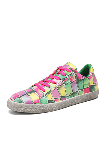 SOCOFY Checkered Color Jelly Printed asual Sneakers