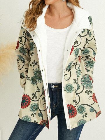 Куртка с капюшоном и пуговицами с цветочным принтом