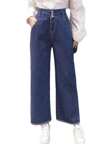 Single-breasted High-waist Wide Leg Denim