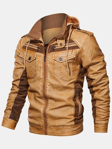 Vintage PU Leather Thick Hooded Jacket