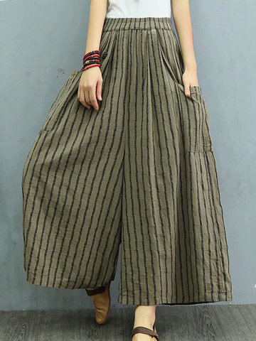 Wide Leg Stripe Pants, Black wine red green