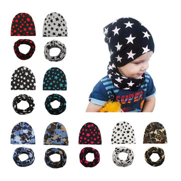 Cool Boy Print Hat Scarf Set For 0-4 Years