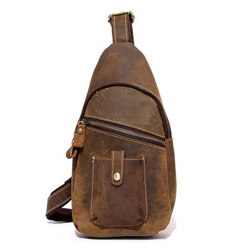 Ekphero Genuine Leather Chest Bag Casual Vintage First Layer Leather Shoulder Crossbody Bag For Men