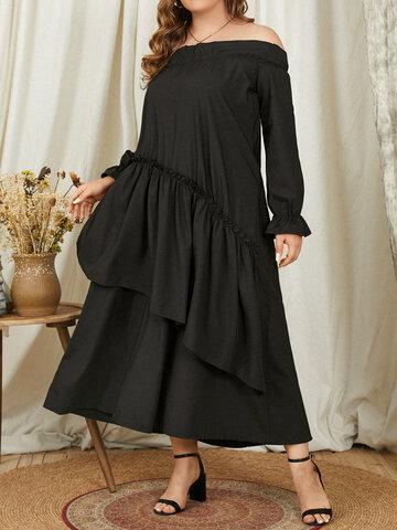 Plain Layered Ruffle Sleeve Dress